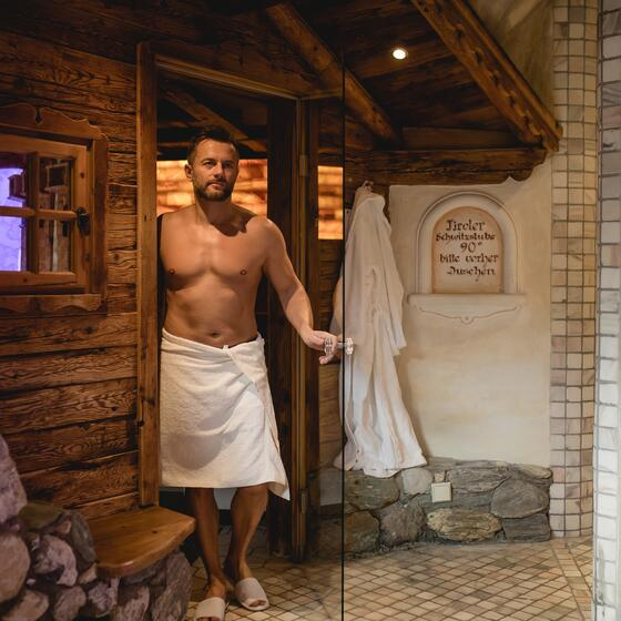 man in sauna area
