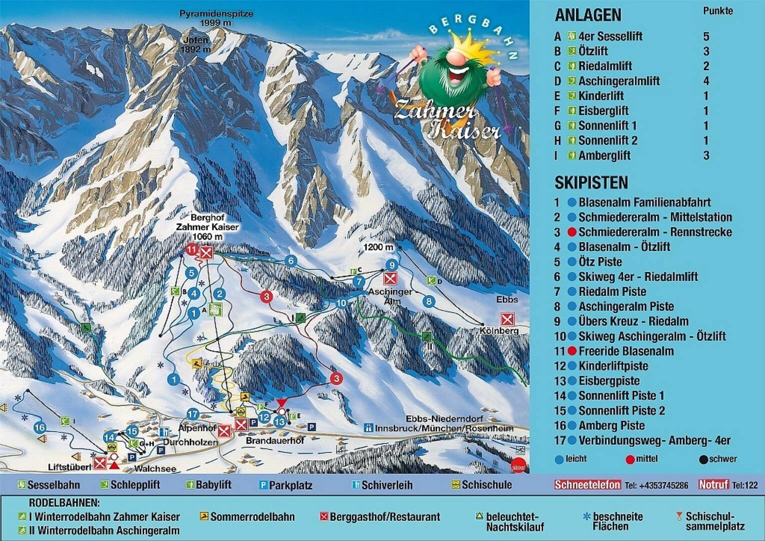 ski area zahmer kaiser map